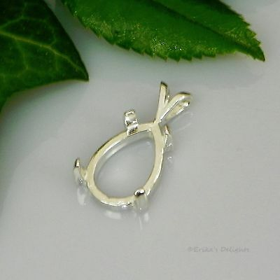 6X4   18X13  Pear Cabochon  Cab  Sterling Silver Pendant Setting