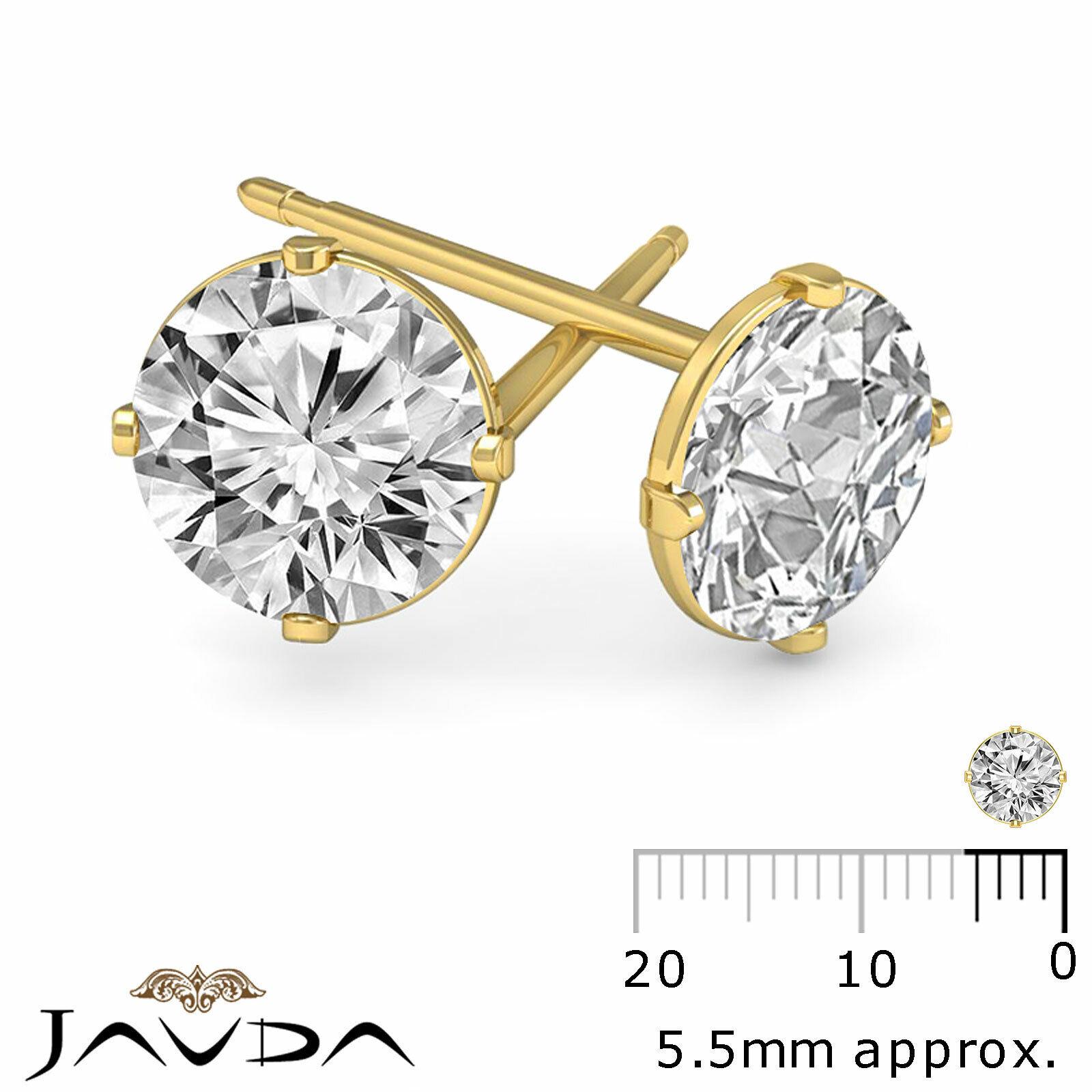1/2ctw Round Diamond Flat Open back Friction Stud 1 Pair Earring 14k Yellow Gold
