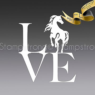 4 Inch Horse Equestrian LOVE Vinyl Decal Sticker Die Cut