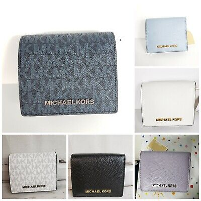 NEW Michael Kors JET SET TRAVEL CARRYALL Card Case Coin Purse Wallet White Black