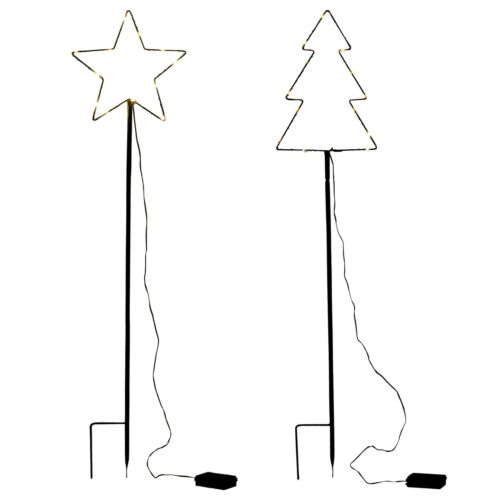 100cm+Large+Traditional+Star+%26+Christmas+Tree+Design+Garden+Light+Wire+Decor++