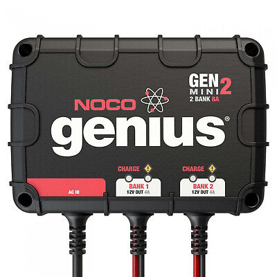 NOCO GENM2 On Board 2 Bank 8A Battery Charger for 12V trolling motor/generator