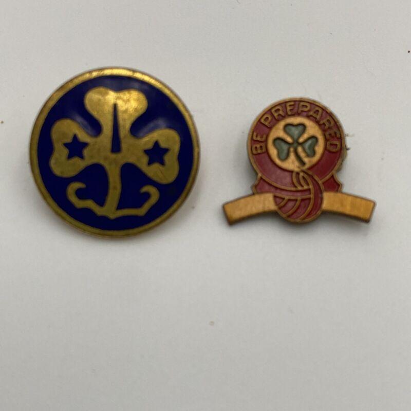Vintage Girl Scout Pins Curved Bar Award Trefoil Clover Stars