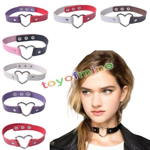 La moda punk - gotico pu cuoio collana cuore catena fibbia collare collana2