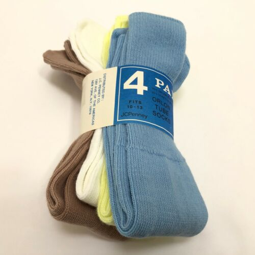 4 Pair Mens Vintage Orlon Tube Socks 10 - 13 JCPenney NEW NOS Blue White Brown