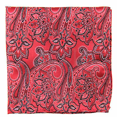 New Men's Polyester Woven pocket square hankie only red paisley wedding