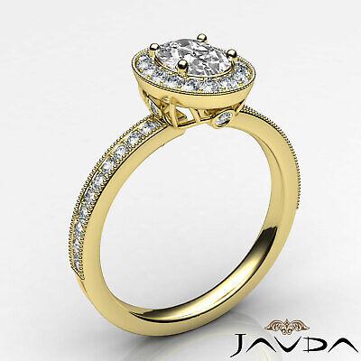 Bezel Set Milgrain Edge Halo Oval Diamond Engagement GIA F VS1 Clarity Ring 1Ct 7