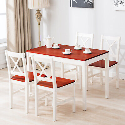 5 Piece Pine Wood Dining Table Set w/4 Chairs Dining Room Kitchen -