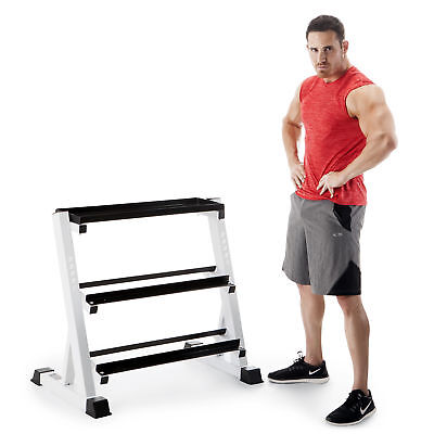 Marcy 3 Tier Metal Steel Home Workout Gym Dumbbell Weight Rack Storage Stand