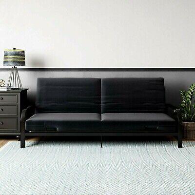 Mainstays Metal Arm Futon, Metal Frame with Mattress, Convertible Bed, Black