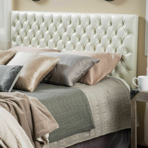 Wyoming Queen/Full Button Tufted Fabric Headboard – Ivory Beds & Mattresses