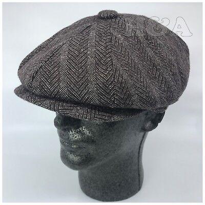 b67bd3b1151 Men s 8 Panel Premium Wool Cabbie Newsboy Applejack Paperboy Tweed Hat Cap  Brown - Paperboy Cap