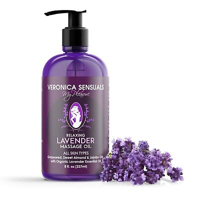 Lavender Body Oil - Pure Organic Relaxing Lavender Aromatherapy Massage Oil 8 oz