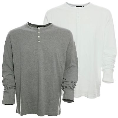 Baumwolle Langarm Henley Shirt (Kitaro T Shirt Longsleeve Herren Langarm Rundhals Henley Baumwolle)