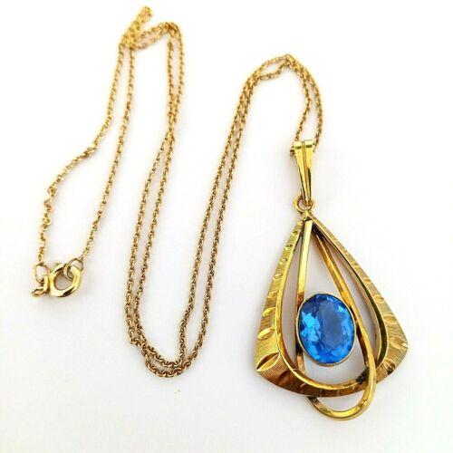 Vintage Danish Modern Blue Glass Stone Gold Plated Modernist Pendant Necklace