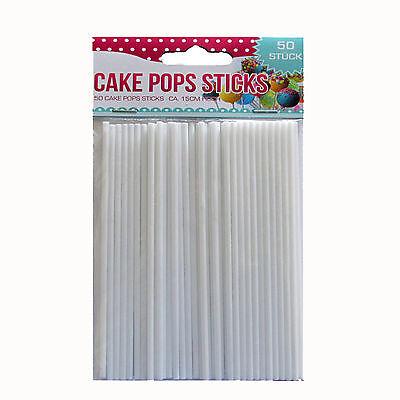 uchenlolli Lollipop Popcake Sticks Pop Cake 15 cm weiß (Weiß Lollipop)