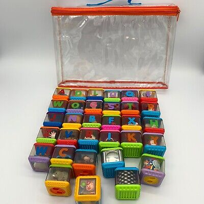 Lot Fisher Price Peek A Boo Alphabet Blocks Letters ABC Set Bag Baby Toddler Toy