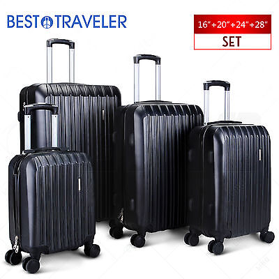 "ABS Spinner 4Pcs Luggage Travel Set Bag Suitcase TSA Lock Black 16"" 20"" 24"" 28"""