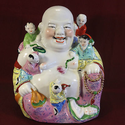 Vintage Chinese Hand Painted Laughing Buddha with His Children Figurine