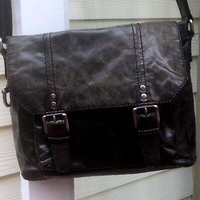 FOSSIL Distressed Black Glazed Leather Laptop Messenger Crossbody Shoulderbag