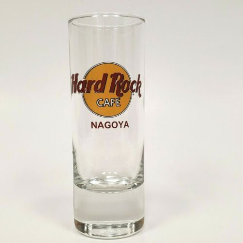 Hard Rock Cafe NAGOYA JAPAN Red Letters Tall Shot Glass CLOSED HRC Yellow Circle