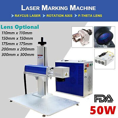 Usa 50w Split Fiber Laser Marking Engraver Engraving Machine Rotary Axis Fda