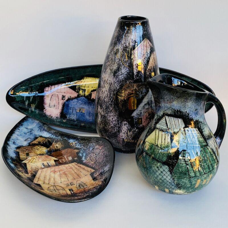 Vintage Sascha Brastoff MCM Black Rooftops California Pottery Collection Set Lot