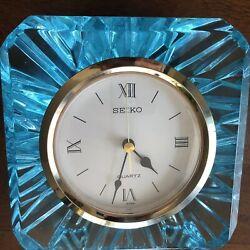 "Vintage Seiko Lead Crystal Quartz, Blue G/ Shelf Desk Clock Made In Japan 6x5x2"""