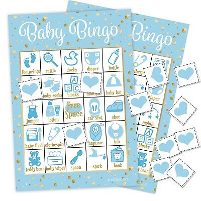 Its a Boy Baby Shower Bingo Game - Blue and Gold, 24 Guests Bingo Cards & Chips (Baby Shower Bingo Cards)