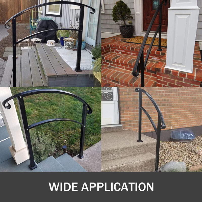 Outdoor Handrails Fits 1 to 3 Steps WroughtIron Handrail For 1-3 Steps