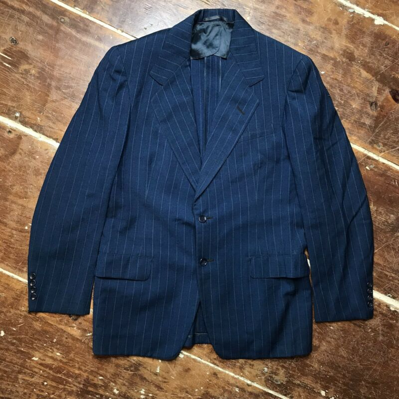 Vintage 40s Navy Chalk Stripe Wool Suit Jacket Mens 38 Richman Bros Two Button