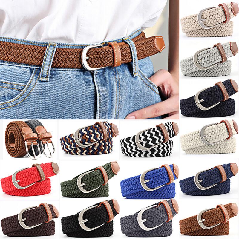Men's Women's Braided Woven Canvas Elastic Waist Belt Buckle Waistband Unisex Belts