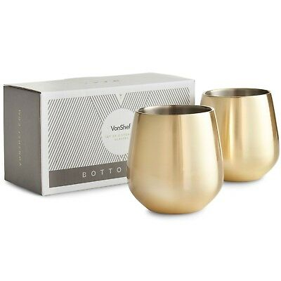 VonShef Stemless Gold Stainless Steel Wine Glass Set of 2 Double Walled Gift Box