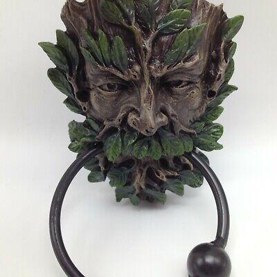 "Greenman Door Knocker Celtic Deity Forest Spirit 7.5"" Green Man Decor New 8759"