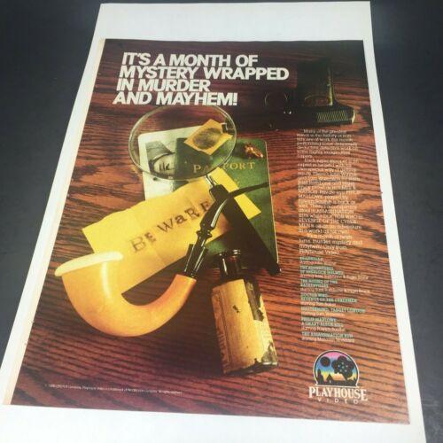 Vintage 1986 Print AD Playhouse Video Advert Basil Rathbone SHERLOCK HOLMES PIPE