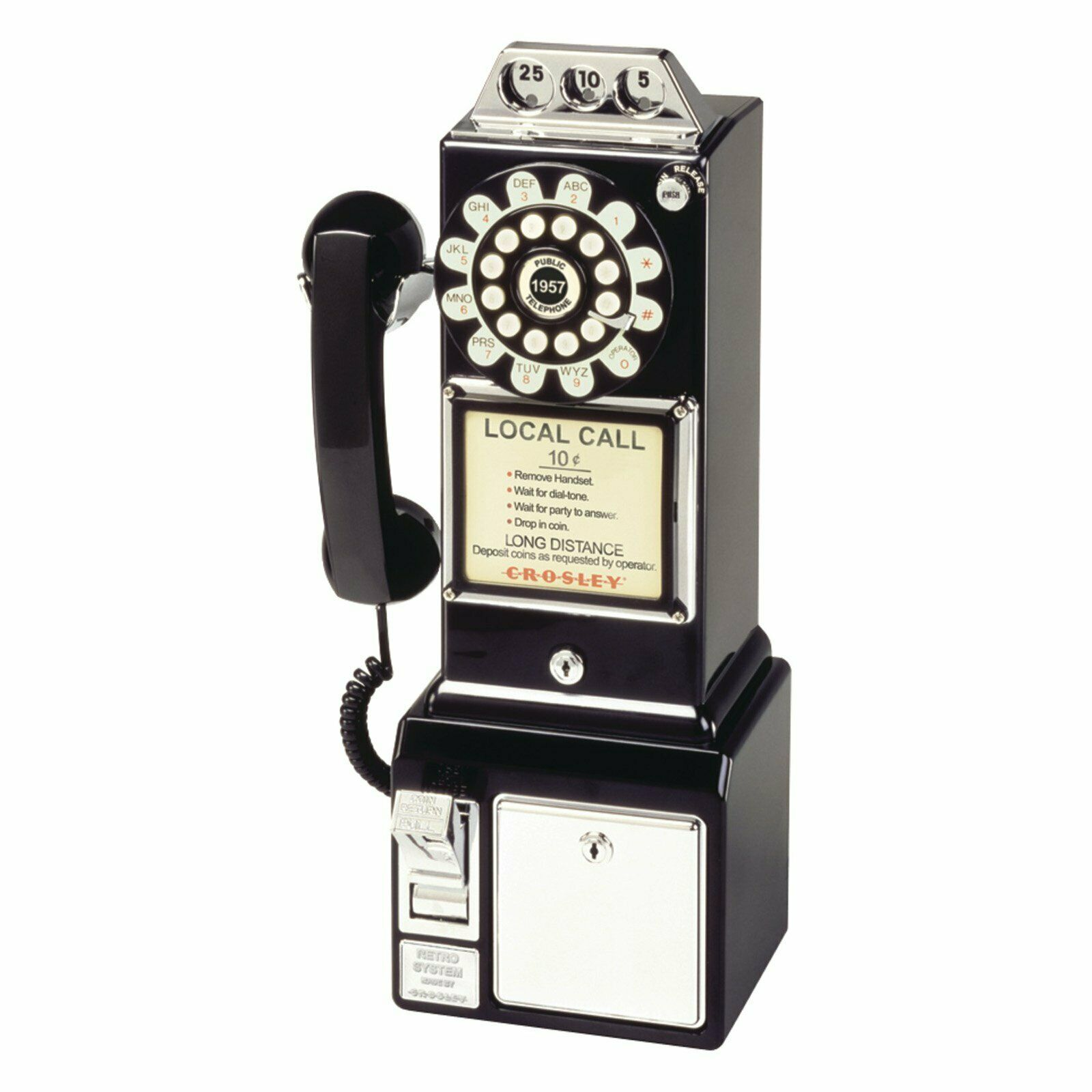 Vintage Dial Payphone Rotary Style Retro Look Coin Bank Dropping Telephone Black