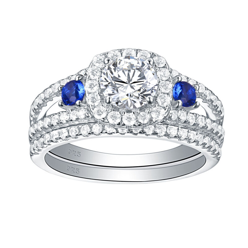 Wedding Engagement Ring Set For Women 1.5ct Sterling Silver Round Blue Aaaa Cz