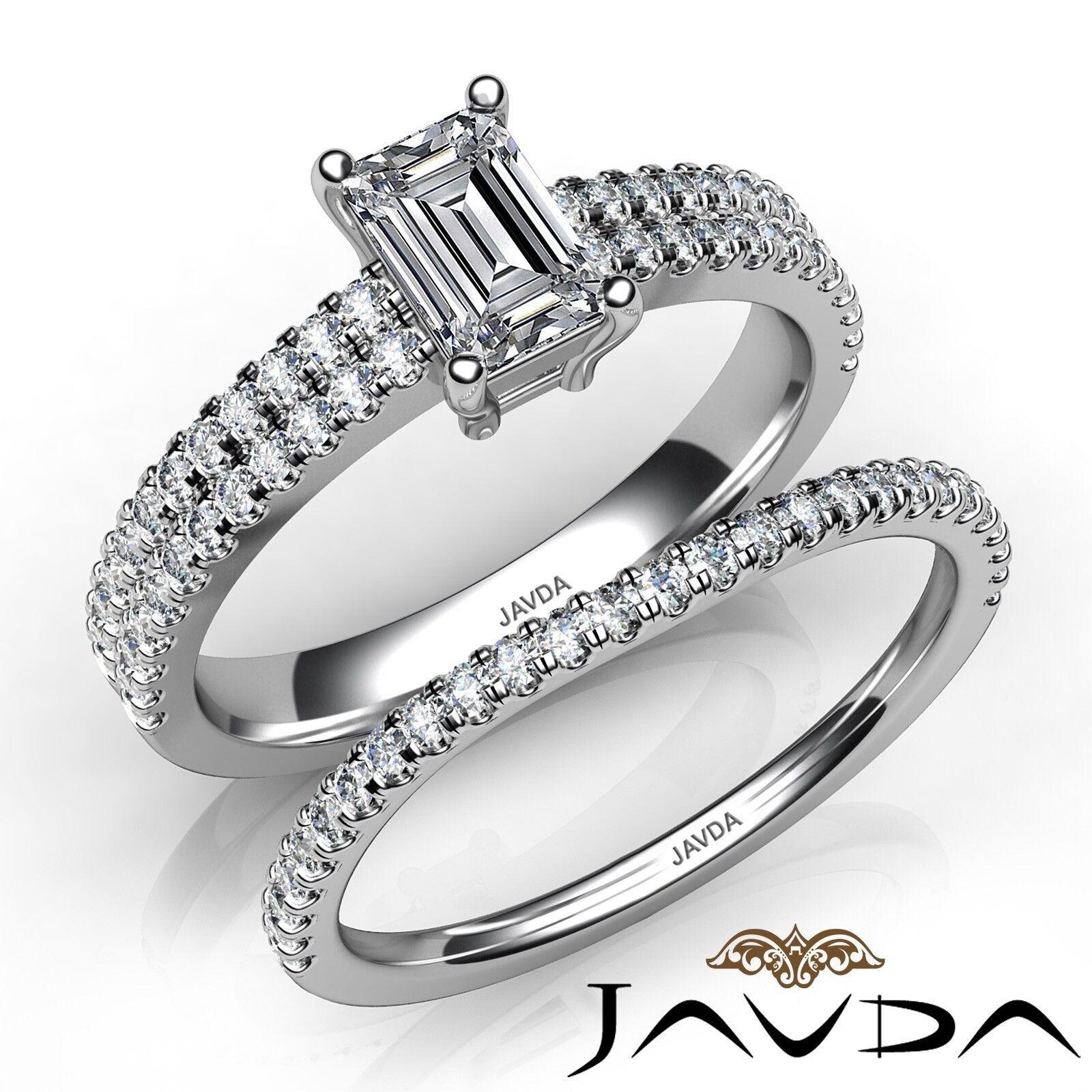 1.6ctw Double Shank Bridal Set Emerald Diamond Engagement Ring GIA G-VS2 W Gold