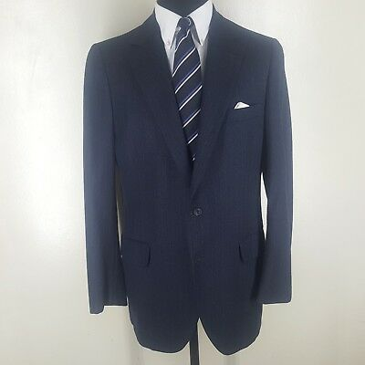 NORMAN HILTON Made In U.S.A. Vintage Blue Flannel Suit 2 Btn One Vent 43-45 Long