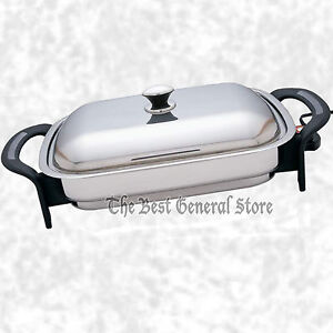 Large 16 Surgical Stainless Steel Electric Skillet Frying