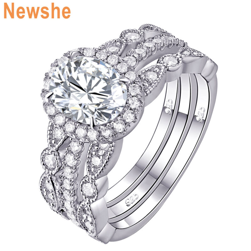 Newshe Engagement Wedding Ring Set For Women Oval Cz 925 Sterling Silver Sz 5-12