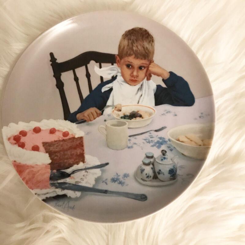 "Edwin M Knowles Collectors Plate 1985 ""Ikke Lutter Lagkage"" Kurt Ard"