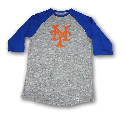 New York Mets Majestic Men's 3/4's Sleeve Blue/ Heather Gray T-shirt NWOT