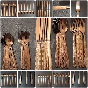 30 Piece Cutlery Set Copper Rose Gold Mirror Polished 18