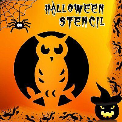 Owl Halloween Mylar Painting Pumpkin Window Wall Art Stencil - Halloween Pumpkin Stencil Owl