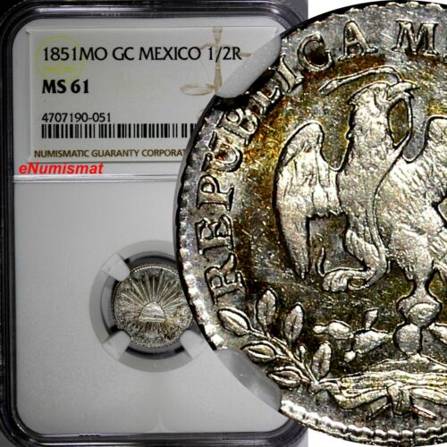 Mexico FIRST REPUBLIC SILVER 1851 MO GC 1/2 Real NGC MS61  KM# 370.9