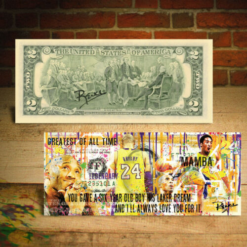 KOBE BRYANT Mamba Pop-Art Genuine Legal Tender $2 Bill - HAND-SIGNED by Rency