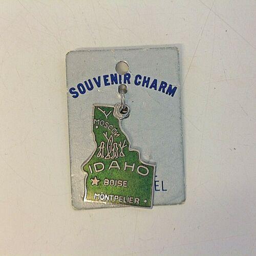 Vintage Cloisonne Hard Enamel Souvenir Charm Idaho Boise Montpelier on Backing