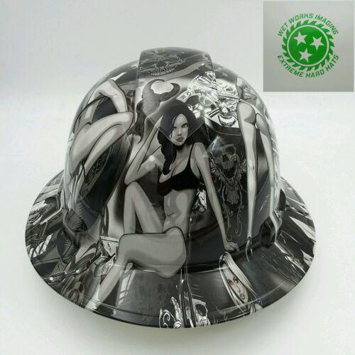 Hard Hat FULL BRIM custom hydro dipped , OSHA APPROVED , BIKER BABES WOW 4