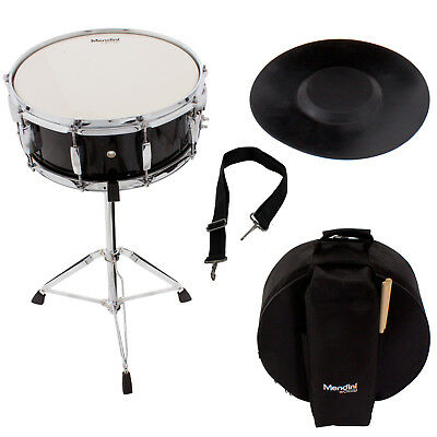 Mendini Student Black Snare Drum Set with Gig Bag+Sticks+Stand+Practice Pad Kit